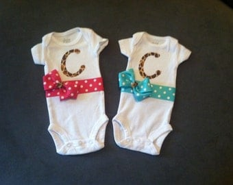 Customized monogrammed baby girl outfits for twins!