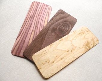 3 Wood Bookmarks / Natural wood Grain // Birdseye Maple, Red Cedar, Walnut // Place Keeper Journals Books Leather