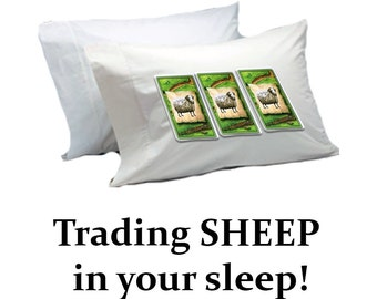 Settlers of Catan Sheep Pillow Case - ( Microfiber Suede ) Counting Sheep in your sleep. By Nutsak Games
