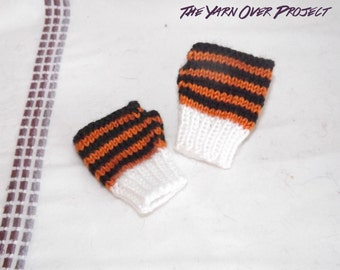 Hand-Knit Baby Fingerless Gloves - Fingerless Gloves for Baby- Knitted Fingerless Gloves - Knit Tiger Wrist Warmers - Thumbless Mittens