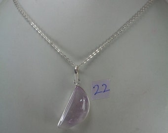 Natural Amethyst Pendant Necklace,13*28 mm Halfmoon Shaped Pendant, February Birthstone