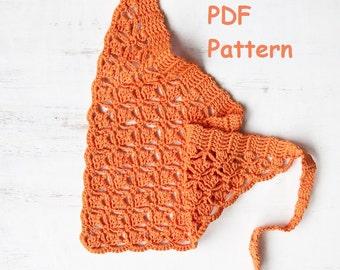 Beach bandana – sport head kerchief - baptism headband - hair accessory - easy crochet pattern