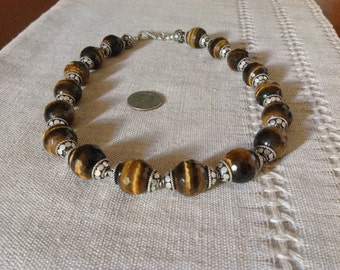 SALE 30% - Tiger Eye Necklace large round faceted Natural stones. Vintage cups. Ethnic clasp. Substanzial Ethnic Folk Necklace. HW186