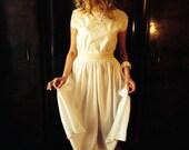 Nymph Dress/Vintage 70's White Cotton Dress/Grecian Dress/Wedding Dress/70's Festival Dress/Boho White Dress/Hippie Dress/Folk Dress/S/M