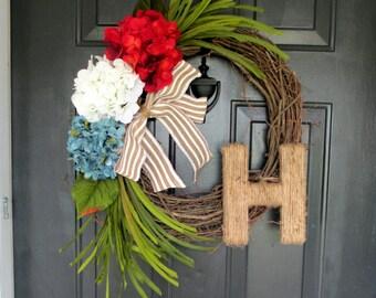 Patriotic Wreaths, Monogram Door Hanging, Fourth of July Decor, Summer Wreath, Burlap Door Decoration, 4th of July Wreath, Monogram Door