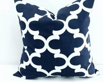Navy Blue Moroccan Quatrefoil Lattice Trellis Pillow Cover Sham Pillow case.Select your size.