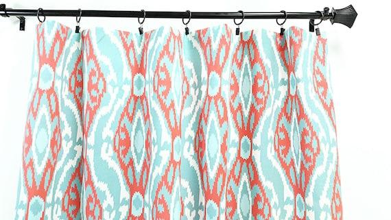 Ikat Sherpa Panel Curtain 2 Panel Curtain Coral Aqua And