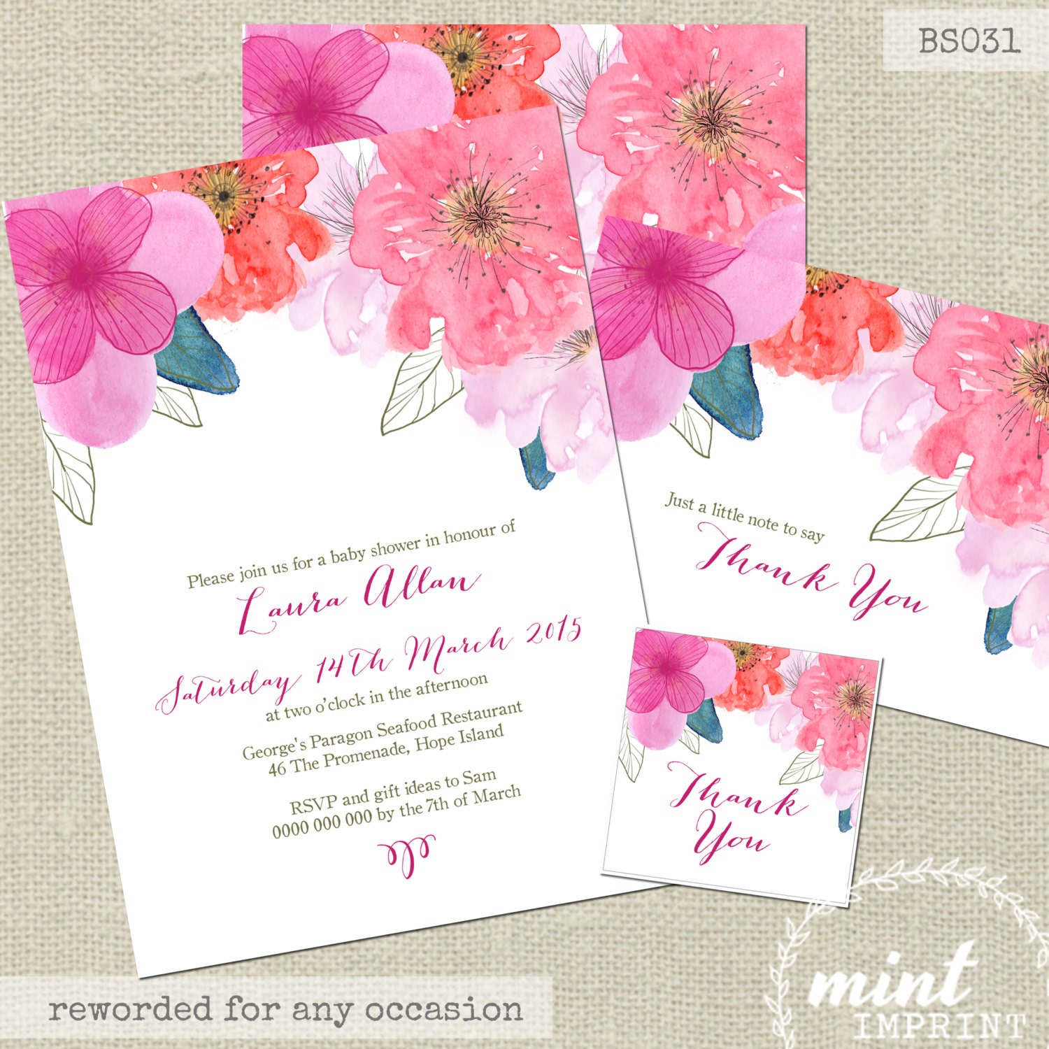 Floral Invitation Watercolour Baby Shower Invitation Hot