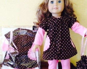 American Girl Doll Clothes Sale 3 Piece Outfit, Pink and Chocolate Tunic Top, Pink Leggings, and Matching Drawstring Purse