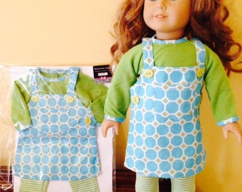"""SALE Fits 18"""" American Girl Doll Clothes. 3 Piece outfit, top, tunic, and leggings FREE SHIP"""