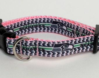 Seattle Seahawks Dog Collar with pink nylon webbing