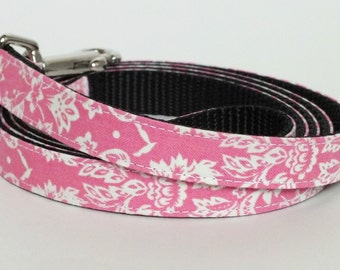 Pink Damask Dog Leash