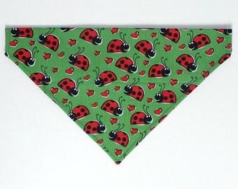 Lady Bug Dog Bandana, Dog Scarf, no tie bandana, slip on bandana, pet bandana, doggy scarf , scarf for dogs