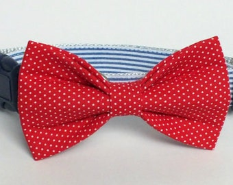 Red Pin Dot Dog bow tie ONLY, Cat bow tie, pet bow tie, collar bow tie, wedding bow tie