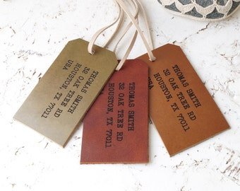 Leather Luggage Tag, Personalized Luggage Tag, Custom Genuine Leather Luggage Tag, 3rd Year Leather Anniversary Gift, Pick your color