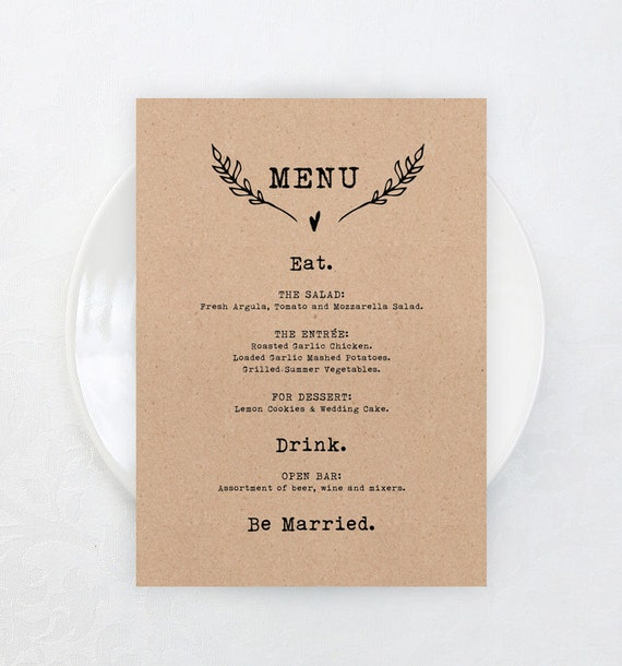 printable rustic wedding menu card template by. Black Bedroom Furniture Sets. Home Design Ideas