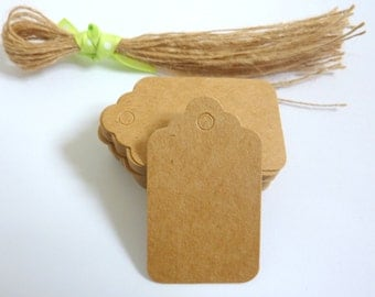 50 Brown Kraft Paper Scalloped Gift Tags Price Tag Crafts 5 x 3cm