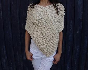Ivory poncho Wool chunky poncho Fisherman Short poncho Boho inspired Knit Poncho scarf