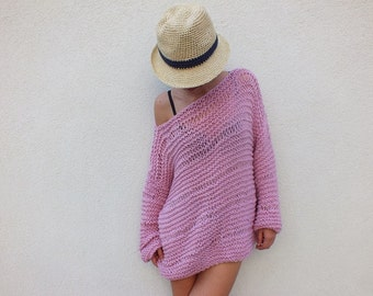 Soft Pink sweater / chunky wool sweater/ handknit sweater/ Oversized Sweater/ Loose knit sweater