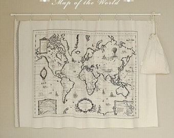Map of the World, World Map Linen Cotton Fabric, 55 inch Width, 28 inch Length, 1 PCS