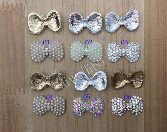 6pcs Crystal Rhinestone Pearl Bow Cabochon For  DIY Jewelry, Bow Cabochon