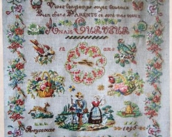 CROSS STITCH CHART Antique French Sampler Pattern 'Anais Curveur'