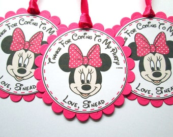 20 Personalized Minnie Mouse Gift Tags, Minnie Mouse Tags, Minnie Birthday, Minnie Mouse Party, Favor Tags, Minnie Gift Tags, Mickey Mouse