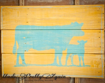 Rustic Cow and Calf Sign - Turquoise Blue and Yellow