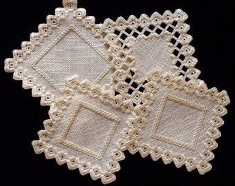 Hardanger needlework, set of four, cream