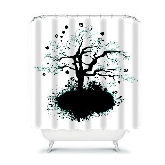 Items Similar To Abstract Tree Shower Curtain Black White Teal Accent On Etsy