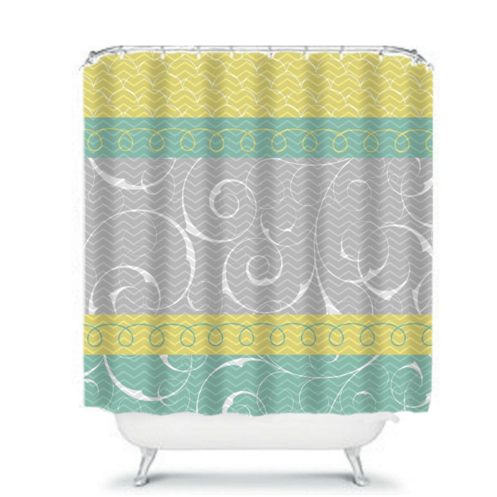 Shower Curtain Gray Yellow Aqua Chevron And Swirls By FolkandFunky