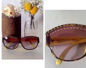Vintage 90's Christian Dior Sunglasses - Brown Dior Sunglasses - Rhinestone Oversized Sunglasses - Designer Eyewear - Dead Stock - Dior 2438