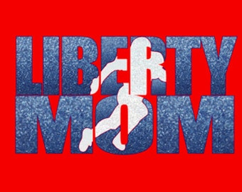 Custom Football Team Mom T-shirt. Customize for your team name (Liberty shown), team colors and player number!