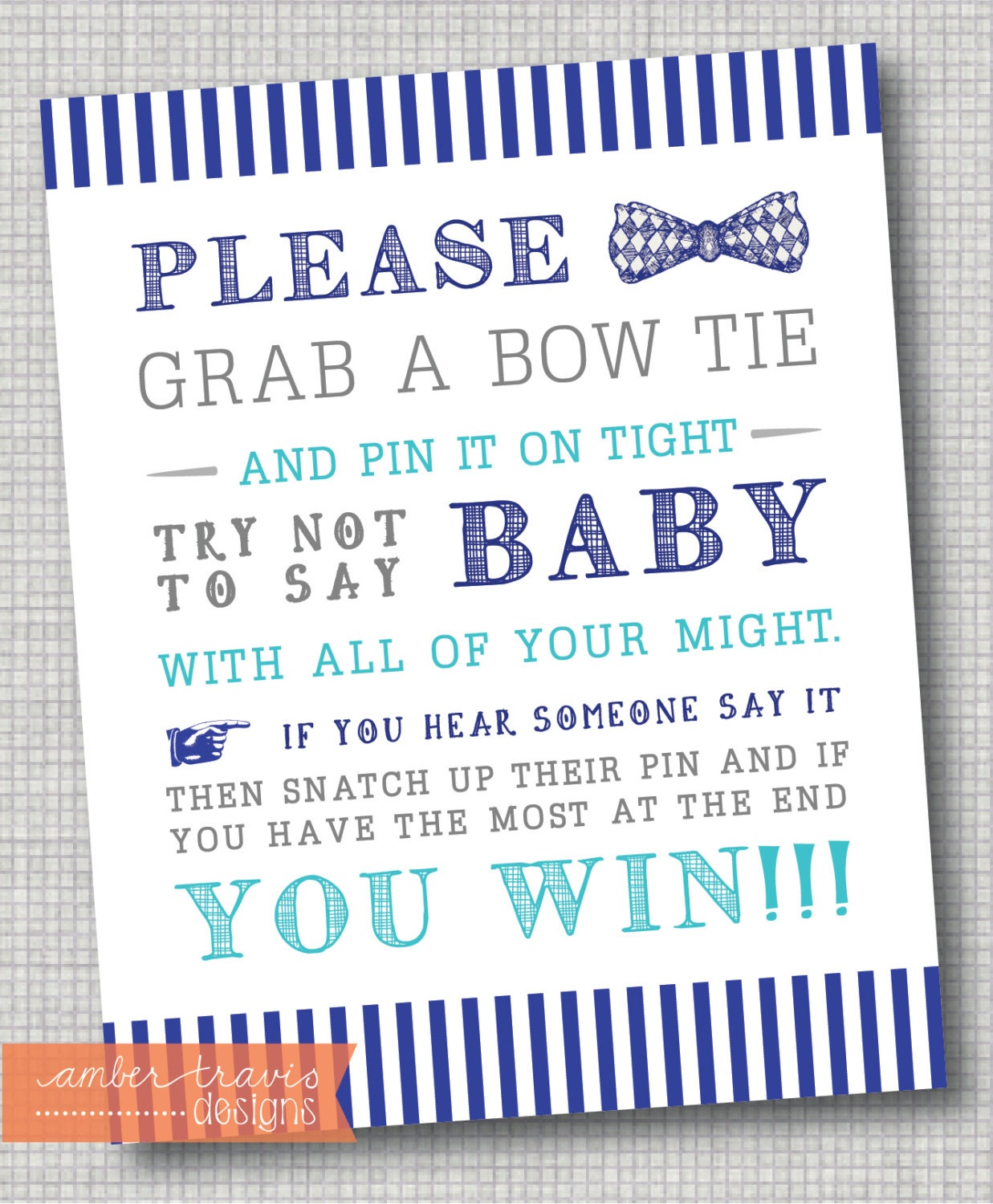 bow tie poster baby shower games bow tie by ambertravisdesigns