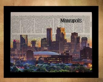 Minneapolis Dictionary Art Print Twin Cities Skyline Minnesota Upcycled Book Wall Art Gift Ideas Home Decor da844