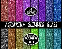 Glitter Glass Digital Aquarium Glimmer Glass Printable Paper Set For Digi Scrapbooking Backgrounds -16 Rainbow Colors Craft Papers