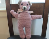 HANDMADE Classic Pink Teddy Bear. Vintage Inspired Teddy Bear. Victorian Teddy Bear. Pink Teddy Bear. Baby Girl. Baby Shower.