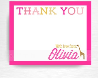 Hot Pink Zoo Birthday Printable Digital Thank You Card YOU PRINT