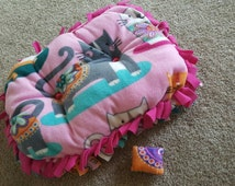 Adorable Pink Grey Cat Fleece Bed with cat toy