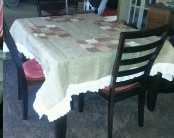 Natural Burlap vintage look with eye let ruffles Table Cloth