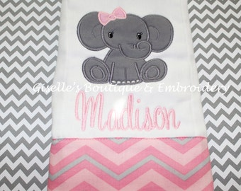 Personalized Baby Elephant Burp Cloth