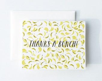 Thanks a Bunch Card, Banana Card, Thank You Card, Thanks Card, Bananas Card