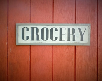 Grocery Wood Sign Kitchen Wooden Sign Grocery Word Art Hand Painted Word Art Grocery Wooden Sign