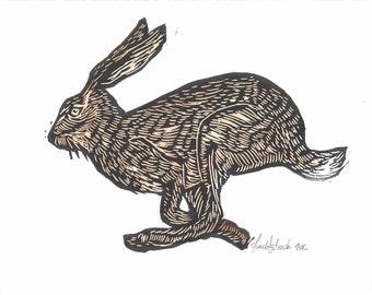 Hare | Rabbit Woodblock Print