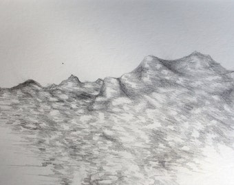 One of a kind, original graphite drawing of mountains