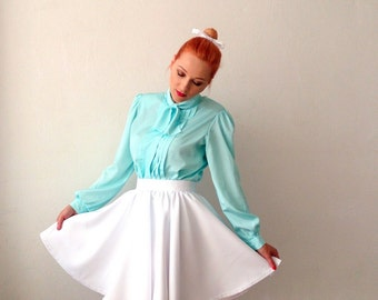 Short full circle skirt in white /1950s inspired custom made