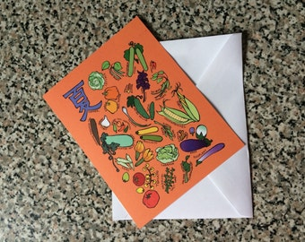 Japanese Vegetables and Fruit (Summer): Blank Greeting Card
