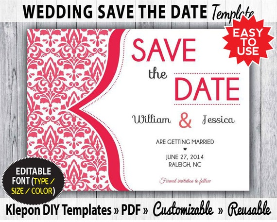 Items similar to save the date wedding card damask classic for Diy save the date magnets template