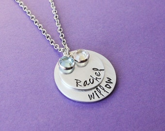 Personalized Mommy Necklace 2 Names - Mom of 2 - Mother of 2 - Handstamped Name Necklace - Engraved Mommy Necklace - 2 Layer Mom Necklace -