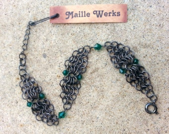 Emerald Micro Chainmaille Bracelet / Swarovski Austrian Crystal Beads / Emerald Green May Birthstone Bracelet / Chainmail Crystal Bracelet